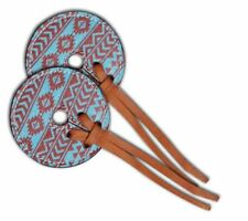 """Teal and Brown Navajo Diamond Leather Bit Guard, 3"""" wide printed leather"""