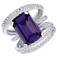 Fashion Ring 14K White Gold Over Emerald Cut Alexandrite & Round Cubic Zirconia