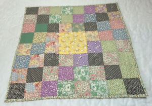 Vintage Patchwork Small Quilt, Doll Crib Quilt, Table Topper, Four Patch, Floral