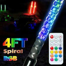 4FT RGB LED Lighted Spiral Whip Antenna + Flag & Remote For ATV Polaris RZR UTV