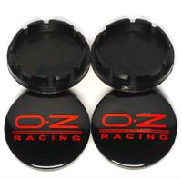 4 x 56mm OZ Racing Schwarz Rot PVC Satz Nabendeckel Felgendeckel Caps Alufelge