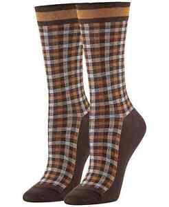 F269 Hue Espresso Women's Plaid Check Socks - One Size