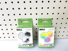 LOT OF 2 DELL UK852/WP322 BLACK /COLOR INK CARTRIDGE/Series 15/For Dell V105/OEM