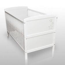 Babybett Kinderbett Gitterbett Weiß Sterne Umbaubar 140 x 70cm ohne Matratze NEU