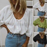 UK Womens 3/4 Sleeve V Neck Lace-Up Shirts Casual Loose Blouse Ladies Beach Tops