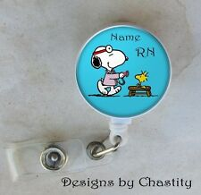 Snoopy Woodstock Custom Badge Reel Retractable Holder Belt Clip ID RN Nurse