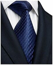 Landisun Solids Mens Silk Tie Set: Necktie+Hanky+Cufflinks 206 Navy Blue