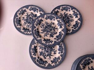 Royal Stafford China England ASIATIC PHEASANT Blue 4 NEW LUNCHEON Salad Plates