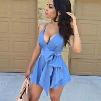 Summer Women Sleeveless V-Neck Bodycon Denim Mini Dress Casual Party Short Dress