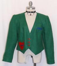 ZEILER / GREEN ~ LINEN German SUMMER Women HEARTS Dress Suit JACKET Over Coat M