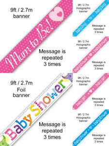 Foil Banner Baby Shower, Baby Boy, Baby Girl, Mum To Be Party Decorations Oak