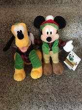 "DISNEY Mickey Mouse & Pluto the Dog Christmas Plush Mini Bean Bags 9"" inch ~ NEW"