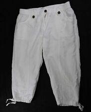 "Blanc du Nil White Cotton Drawstring Hem Capri Inseam 18"" Size 4"