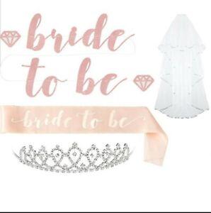 Bride To Be Sash Hen Girls Night Out  Rose Gold Weddings Team Bridesmaid Veil