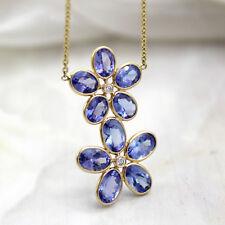 Natural Tanzanite Double Flower Pendant Diamond Minimalist Necklace 18kt Gold