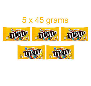5 x M&M's Chocolate Covered Peanuts with Crispy Sugar Coating 5 x 45g 1.6oz