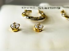 18 KT. Gold Over Sterling Silver Earrings, 3 PACK! FREE SHIPPING!!!