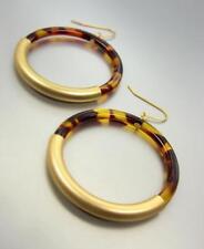 CHIC Urban Artisanal Brown Tortoise Shell Resin Mat Gold Ring Dangle Earrings