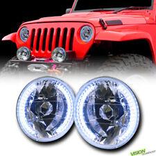 """7"""" Round Chrome Glass Lens White Led Halo Headlights Kit H4 H6014 H6015 H6024 V3"""