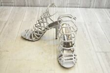Madden Girl Directt Glitter Heeled Sandals, Women's Size 9.5M, Silver NEW