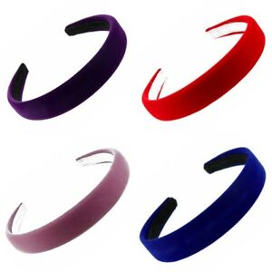 Coloured Padded Velvet Alice Band Hair Band Headband - Accessories