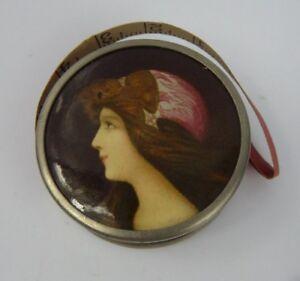 Antique Celluloid Advertisting tape Measure  Pre Raphaelite Lady USA Waukegan IL