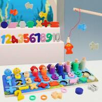Wooden Math Fishing Game Kids Montessori Count Shape Match Educational Toys