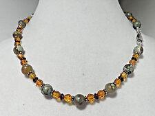 VTG Sajen 925 Green, Gold & Red 16 in Beaded Necklace: Citrine, Garnet .. N1188