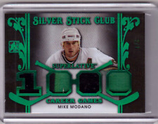 MIKE MODANO 17/18 Leaf ITG Superlative Silver Stick Club Jersey Patch GREEN #2/7
