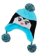 New SO Authentic American Girls Sz 4-7 Penguin Pom Pom Beanie Hat with Ear Flaps