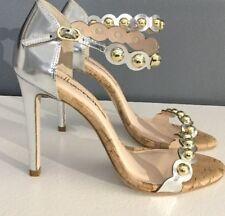 NEW Anthropologie Valentina Heels Size 7 Metallic Silver & Gold