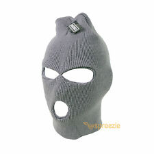 Grey Ski Mask Beanie 3 Hole Knitted Cap Hat Warm Face Winter Snow Mens Womens