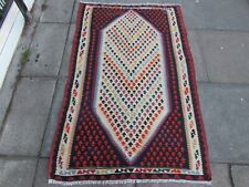 Old Traditional Hand Made Persian Oriental Wool White Blue Kilim Rug 161x99cm