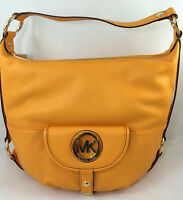 New Michael Kors MK Fulton Large Leather Hobo Shoulder Bag Purse Handbag Yellow
