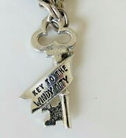 Vintage Wells ~ KEY to the WINDY CITY ~ Sterling Enamel Charm RARE