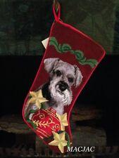 Schnauzer Dog Needlepoint Christmas Stocking NWT