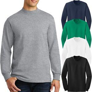 Mens Cotton Mock TURTLE NECK Long Sleeve T-Shirt Golf S-XL,2XL, 3XL, 4XL NEW