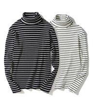Mens Winter Stripe T-shirt Long Sleeve Turtleneck Undershirt High Neck Tee Tops