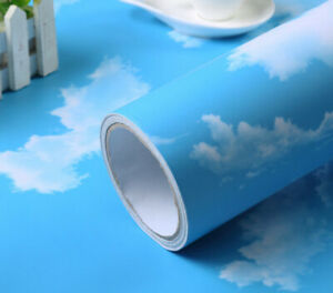 Hot 3D Blue sky and white cloud ceiling Wallpaper Self-adhesive Home Decor #C