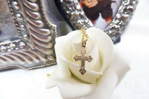 Vintage Petite 9ct Rose Gold Celtic Cross Necklace Pendant 375