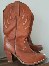frye tan leather mid calf length western cowboy boots  UK 5 1/2 - 6 US 8 B