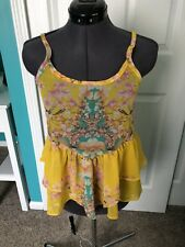 DAYTRIP Yellow PATCHWORK FLORAL PRINT PEPLUM  TUNIC  TANK  Top  Small