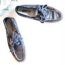 Sperry Top Sider Navy Blue Sparkle Boat Shoe Slip On Loafers Women's Size US 7