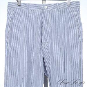 #1 MENS Ikiji Made Japan White Blue Seersucker Stripe Unlined Pants Trousers II