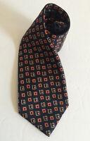 KITON Mens Silk Tie 7 Seven Fold Geometric Abstract Black Orange Italy 60 *READ*