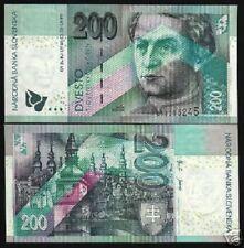 SLOVAKIA 200 KORUNA P41 2002 BARNOLAK TOWN EURO UNC WORLD CURRENCY BILL BANKNOTE