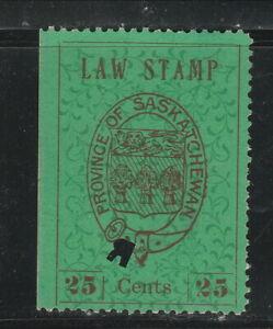 """Saskatchewan Law Stamps SL4 Used """"R"""" Regina Punch Cancel"""