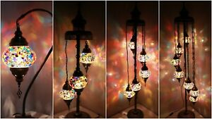 New 1/3/5/7 Glass Turkish Moroccan Style Glass Floor/Table Lamp - UK Certified