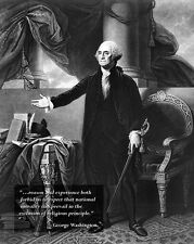 New 8x10 Photo: President George Washington with Inaugural Speech Quote
