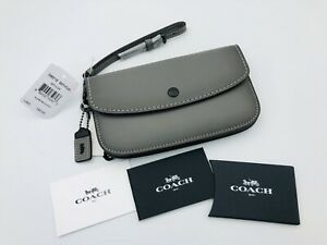 NWT Coach Grey CLUTCH Glovetanned Leather  (1941 Collection) Wristlet Wallet